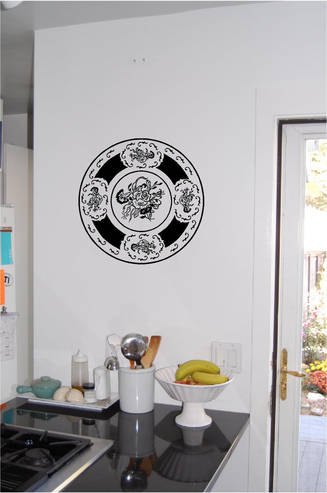 decorative plate wall sticker wall art kitchen decor vinyl. Black Bedroom Furniture Sets. Home Design Ideas
