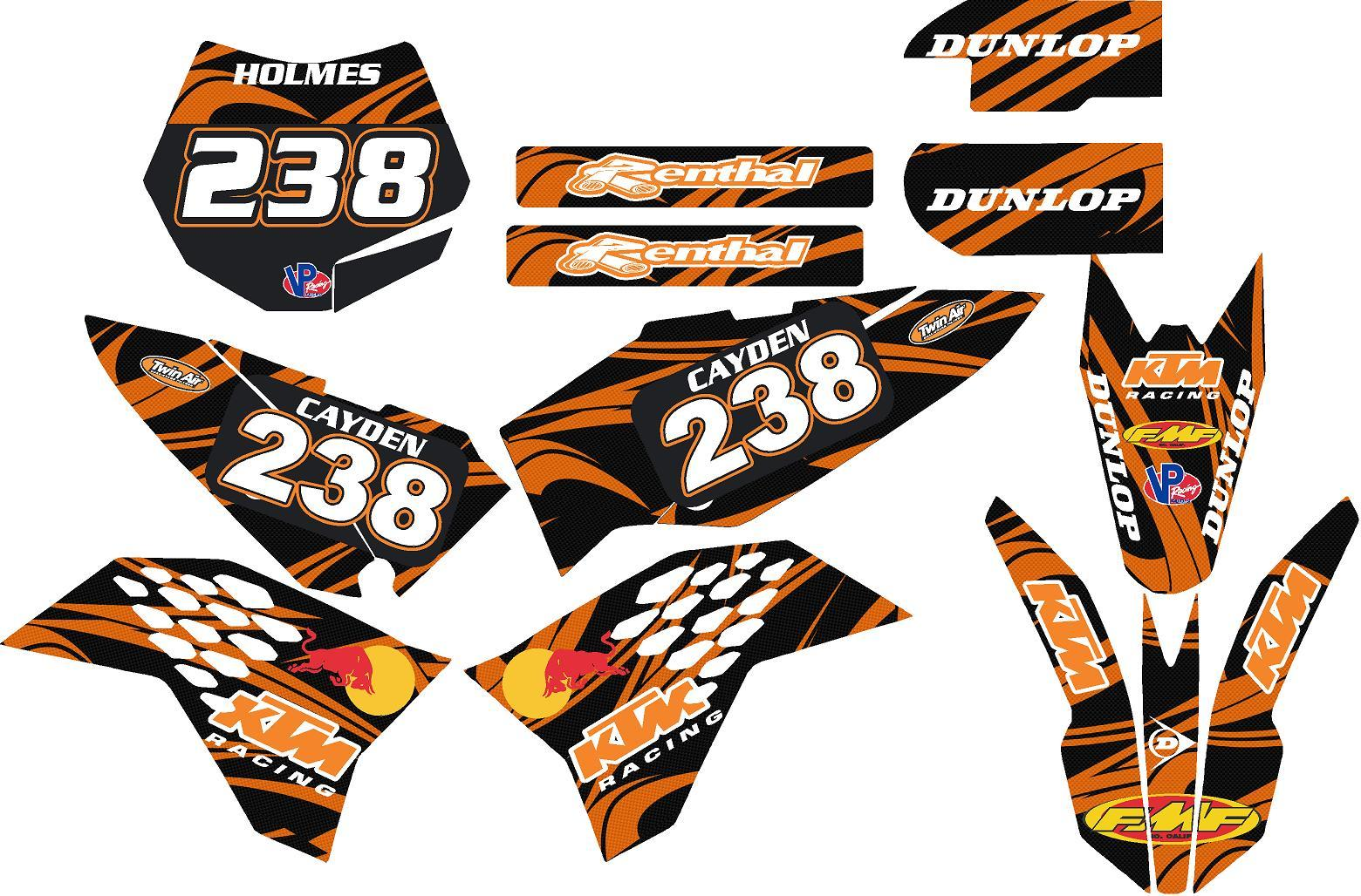2009-15 ktm 65 Graphic Kit With Name And Number