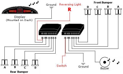dppk2 front rear sensors front audio alerts with. Black Bedroom Furniture Sets. Home Design Ideas