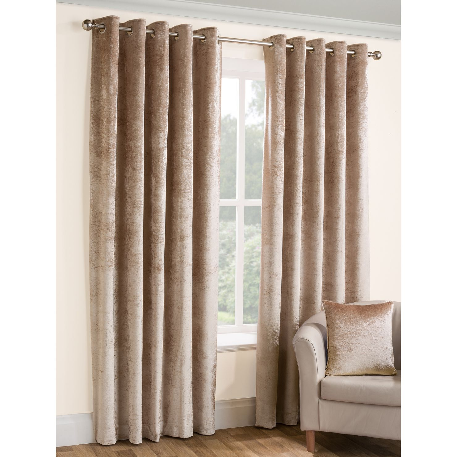 and opulence velvet by top praline curtains in product readymade ready made crushed silver champagne furnishings eyelet lined curtain belfield ring