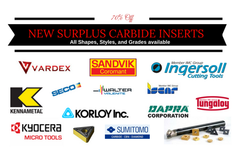 Surplus cutting tools and brand new carbide inserts dirt cheap