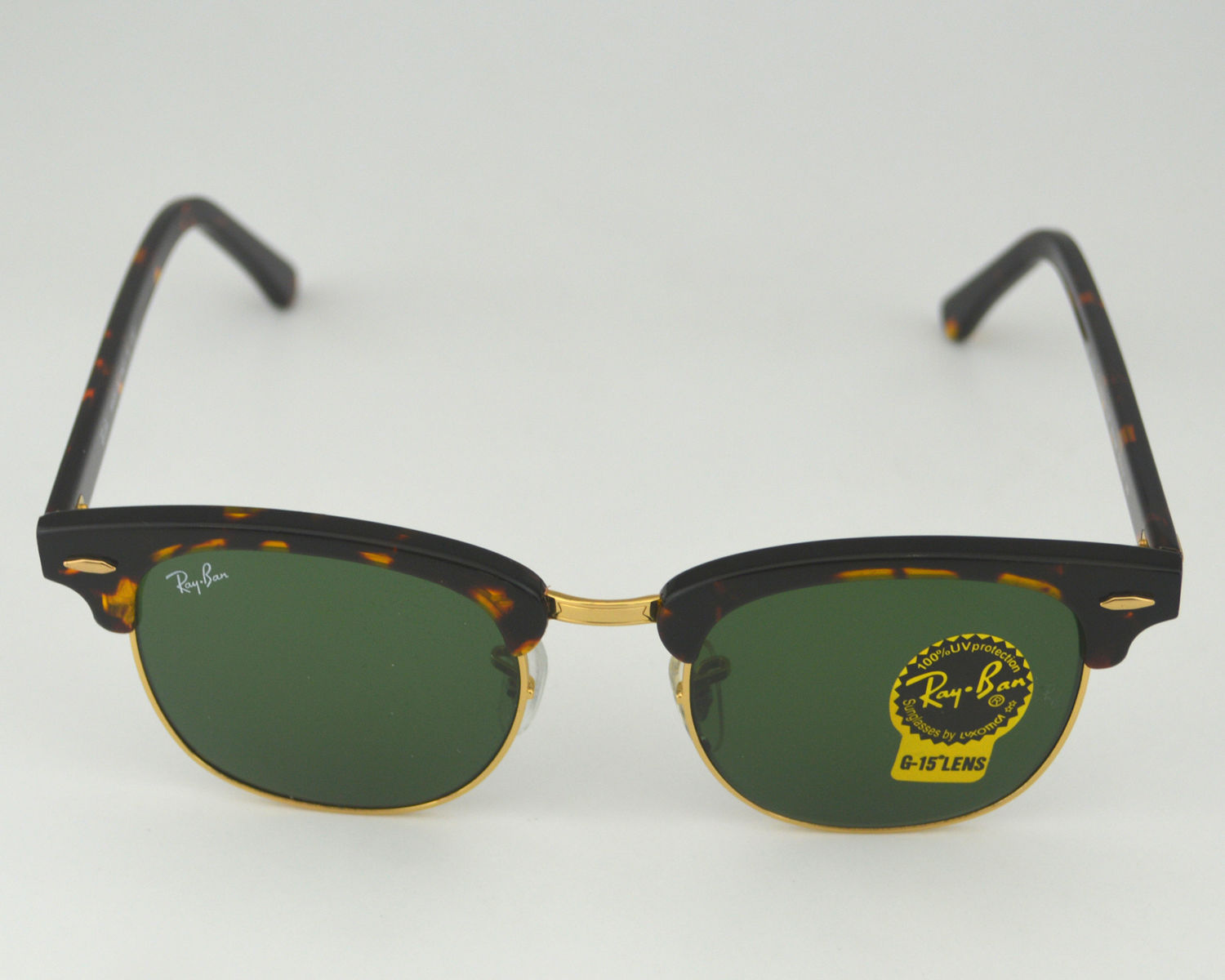 bd16b0c7fc Ray Ban RB 3016 Clubmaster Classic W0366 Tortoise Frame Green Classic G-15  Lenses Unisex Sunglasses 51mm