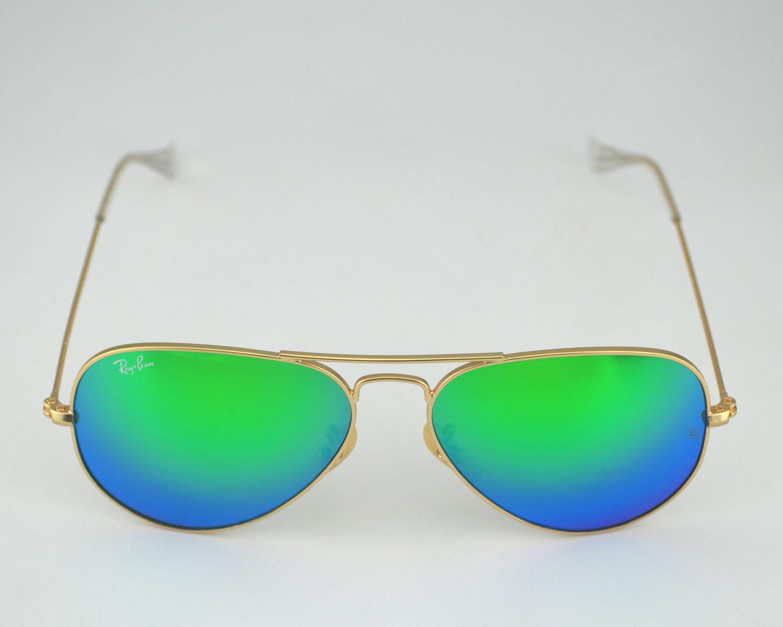 167244b9ba Ray Ban RB3025 Aviator Flash Lenses 112 19 Gold Frame Green Flash Glass Lens  Unisex Sunglasses 55mm