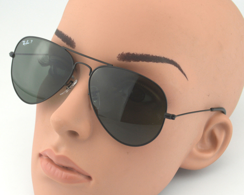 ad281f2151 Ray Ban RB3025 Aviator Classic 002 58 Black Grey Green Glass Lens Unisex  Sunglasses 58mm