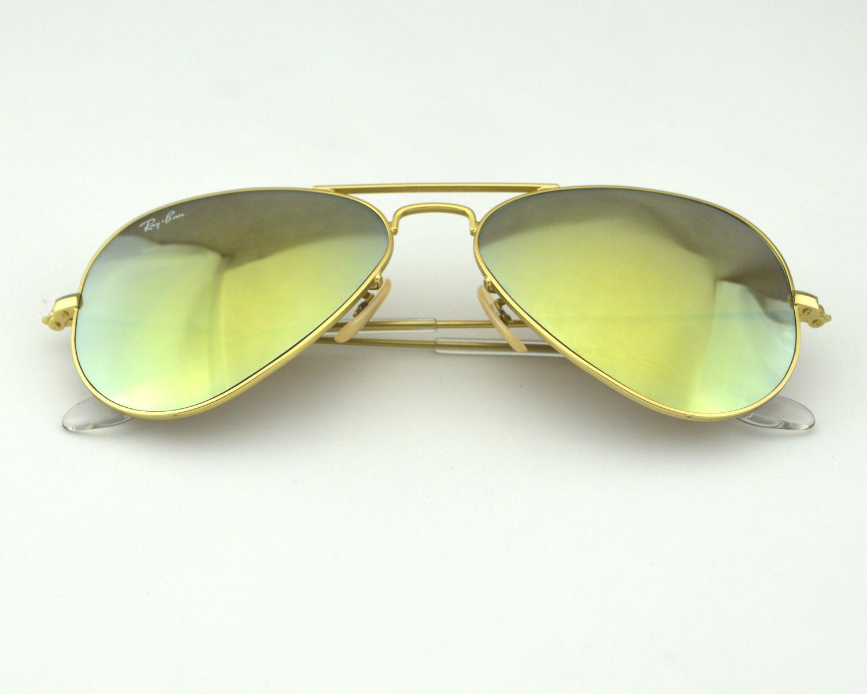 79e16953c1f Ray Ban RB 3025 Aviator Flash Lenses 112 93 Gold  Gold Yellow Flash Glass  Lens Unisex Sunglasses 58mm