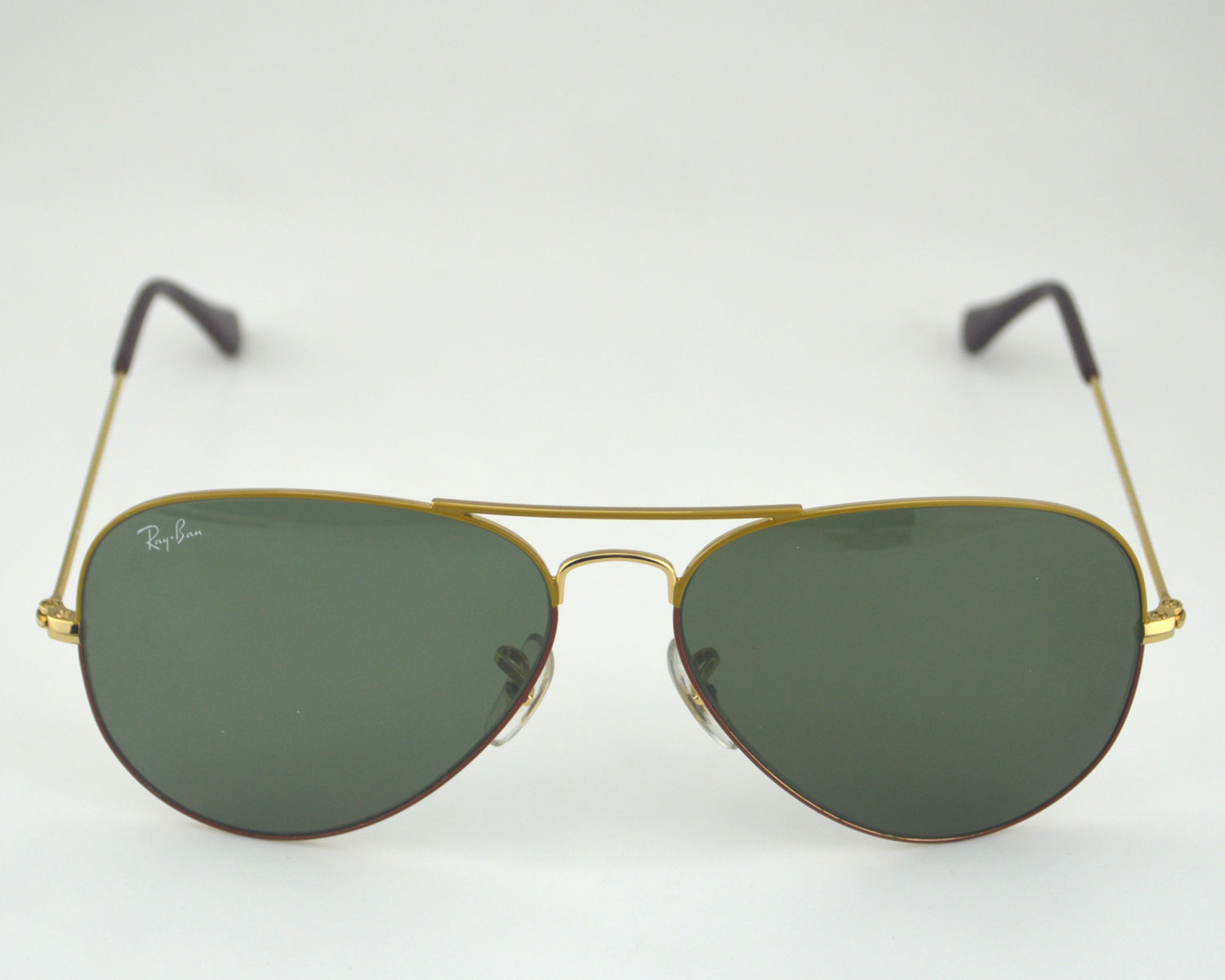 8afd29b9030 Ray Ban RB 3025 Aviator Large Metal 068 Combined Color Frame Orange Brown Gold  Classic Green G-15 Glass Lens Unisex Sunglasses 58mm