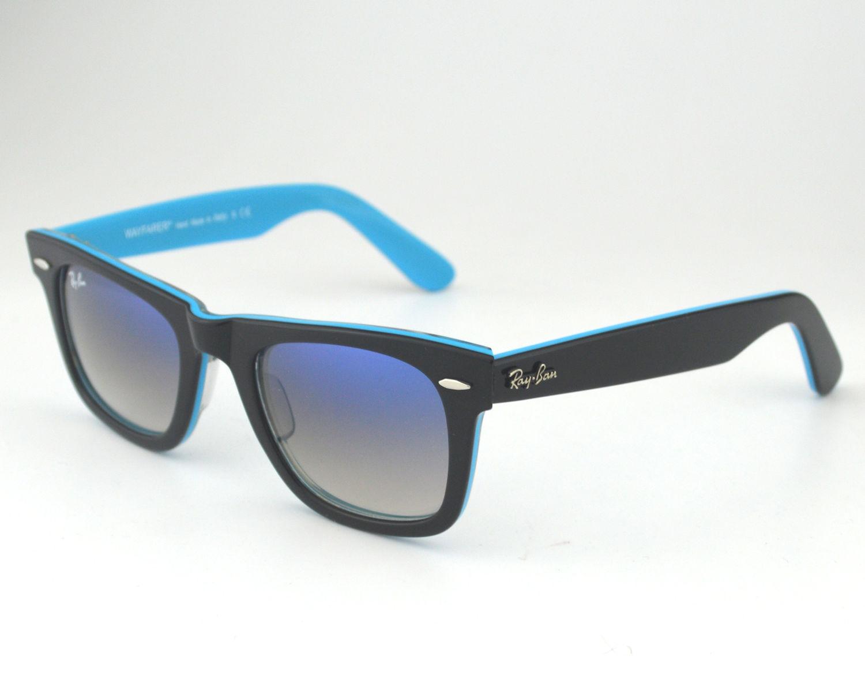 215a7b89ddc93 Ray Ban RB2140 Original Wayfarer Rare Prints1001 3F Black Light Blue  Gradient Glass Lens Unisex Sunglasses 50mm