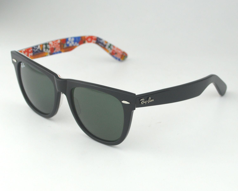 60218326bfd Ray Ban RB 2140 Original Wayfarer Rare Prints 1136 Black-Multi Green Classic  G-15 Glass Lens Unisex Sunglasses 54mm