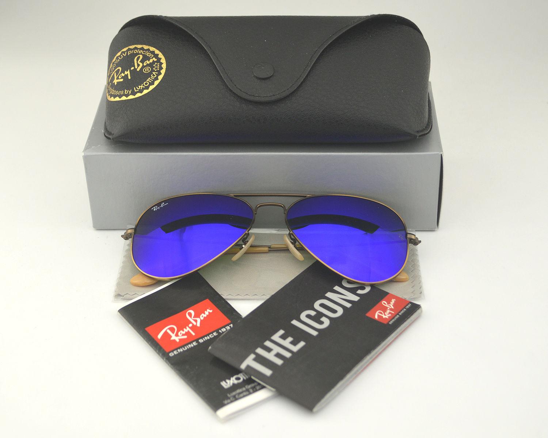 a4d812b42 ... shop ray ban rb 3025 aviator flash lenses 167 68 bronze copper blue  mirror glass lens