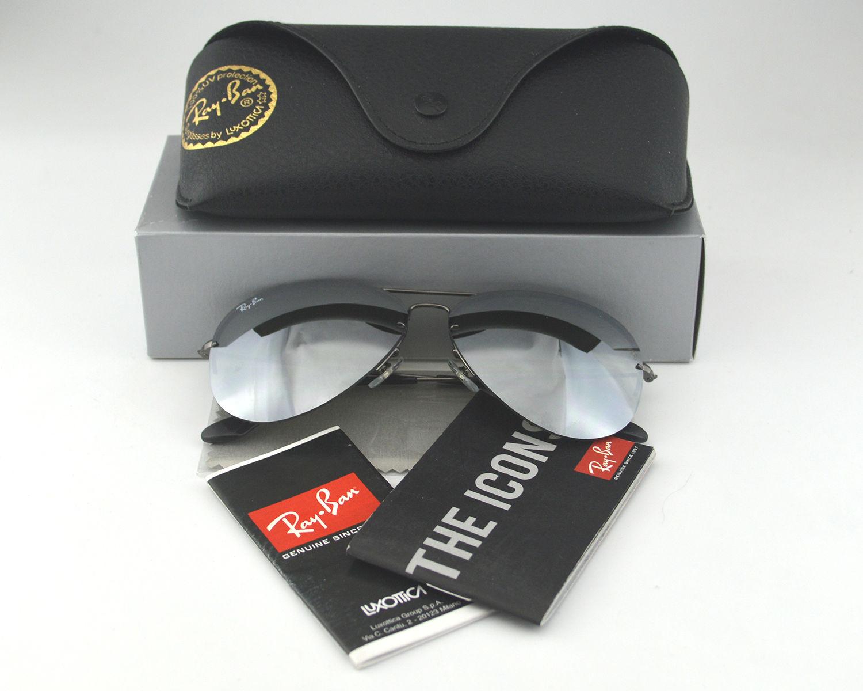 72eae56ff7d Ran Ban RB3460 Aviator Flip Out 004 6G Grey Mirror Lens Sunglasses 59mm