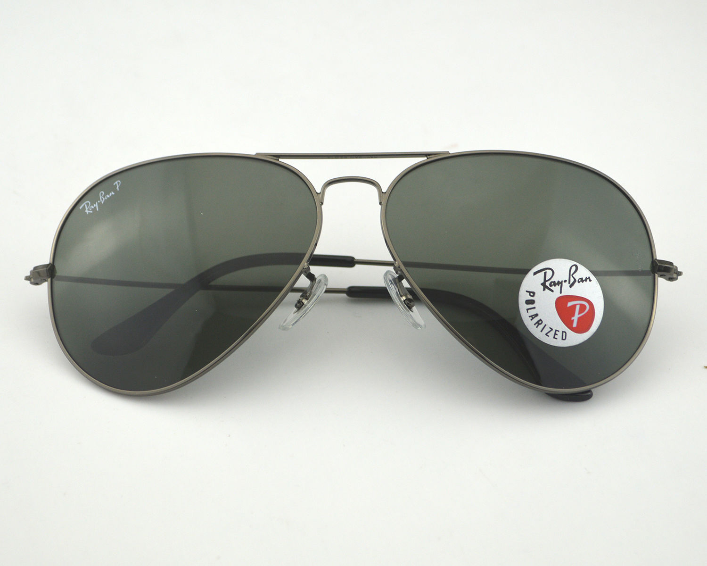 fce0e0beb7b Ray Ban RB3026 Aviator Large Metal Ⅱ 004 58 Gunmetal  Polarized Green  Classic G-15 Lens Sunglasses 62mm