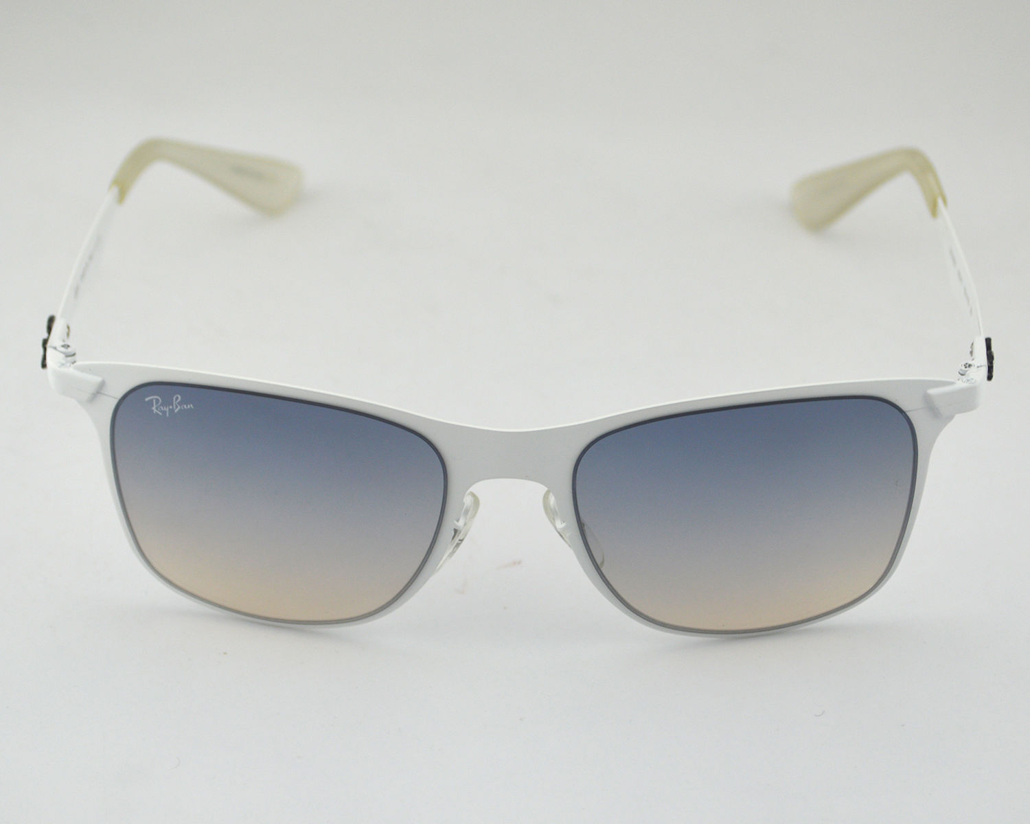 867bed0a44 Ray Ban RB3521 Wayfarer Flat Metal 163 11 White  Grey Gradient Lens  Sunglasses 52mm