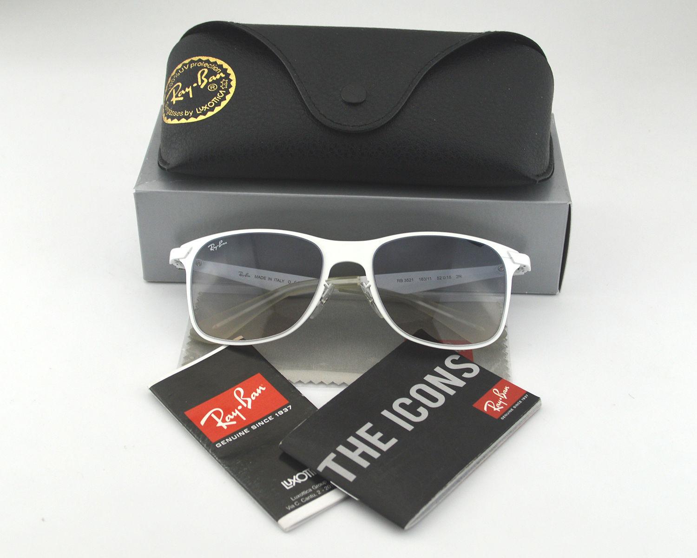 0424cd2a05df Ray Ban RB3521 Wayfarer Flat Metal 163 11 White  Grey Gradient Lens  Sunglasses 52mm