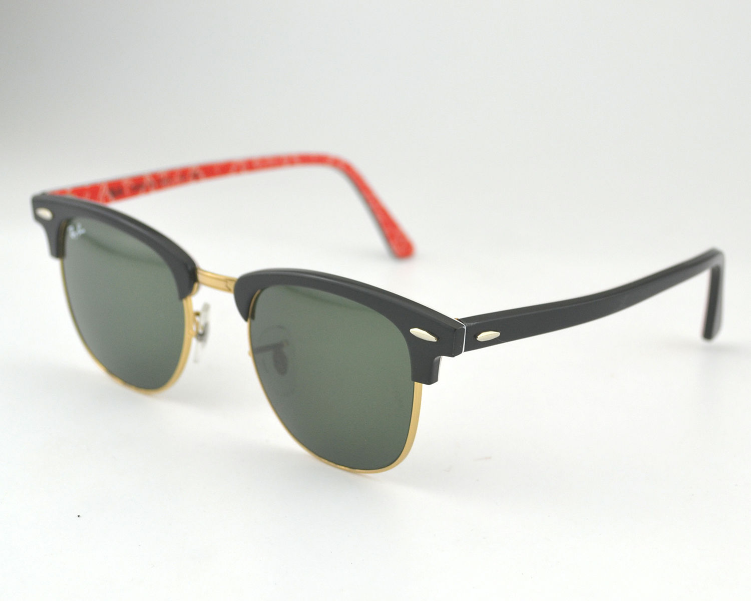 8bb8f3dc8b Ray Ban RB 3016 Clubmaster Classic 1016 Black on White Text on Red on Gold  Frame Green Classic G-15 Glass Lens Unisex Sunglasses 51mm