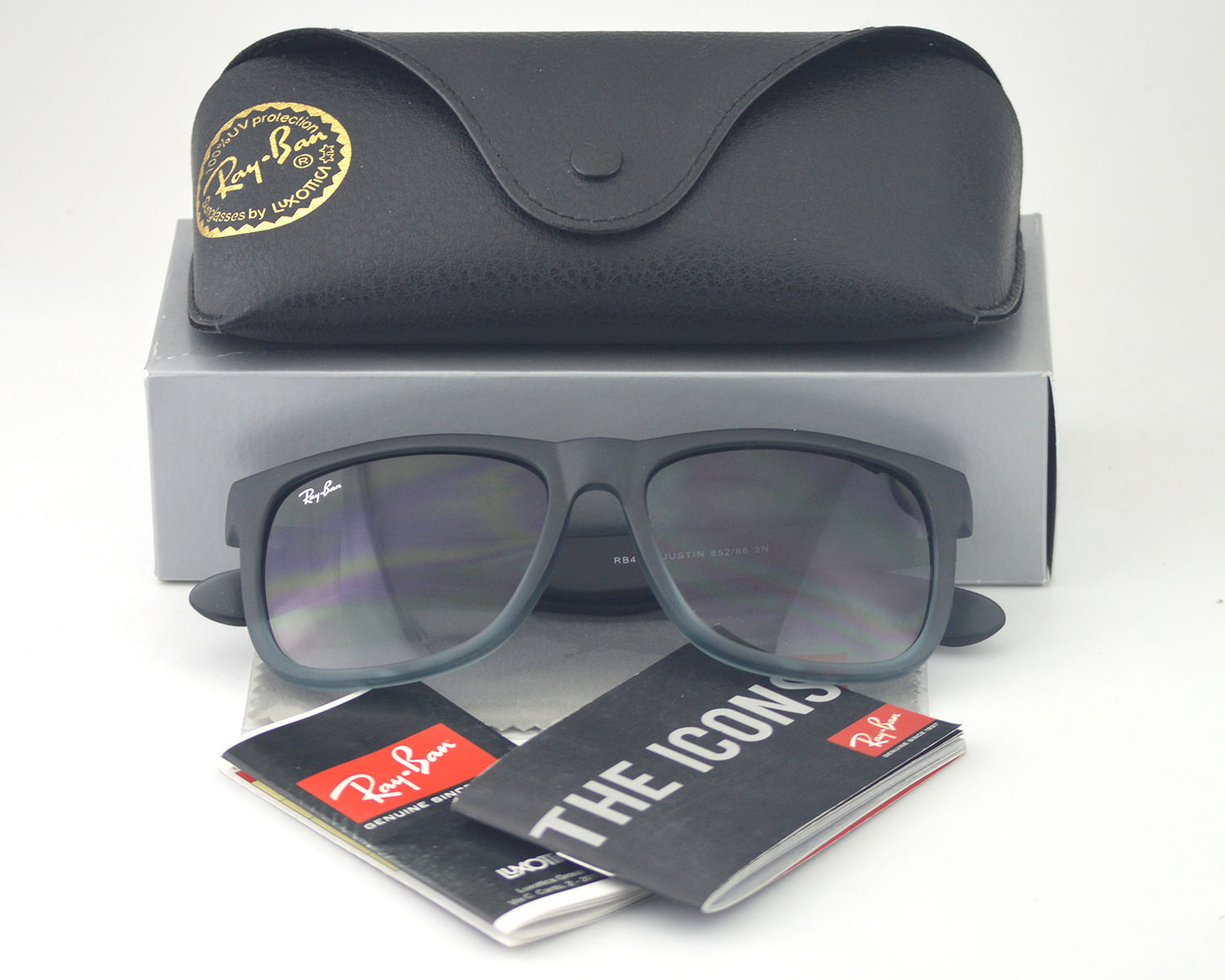 cff48cc8be Ray-Ban RB4165 Justin Classic 852 88 Rubber Grey Frame  Grey transparent  Lens Sunglasses 55mm