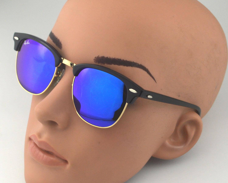 37b6d9262c ... where to buy ray ban rb3016 clubmaster classic 901 17 black frame blue  flash glass lens