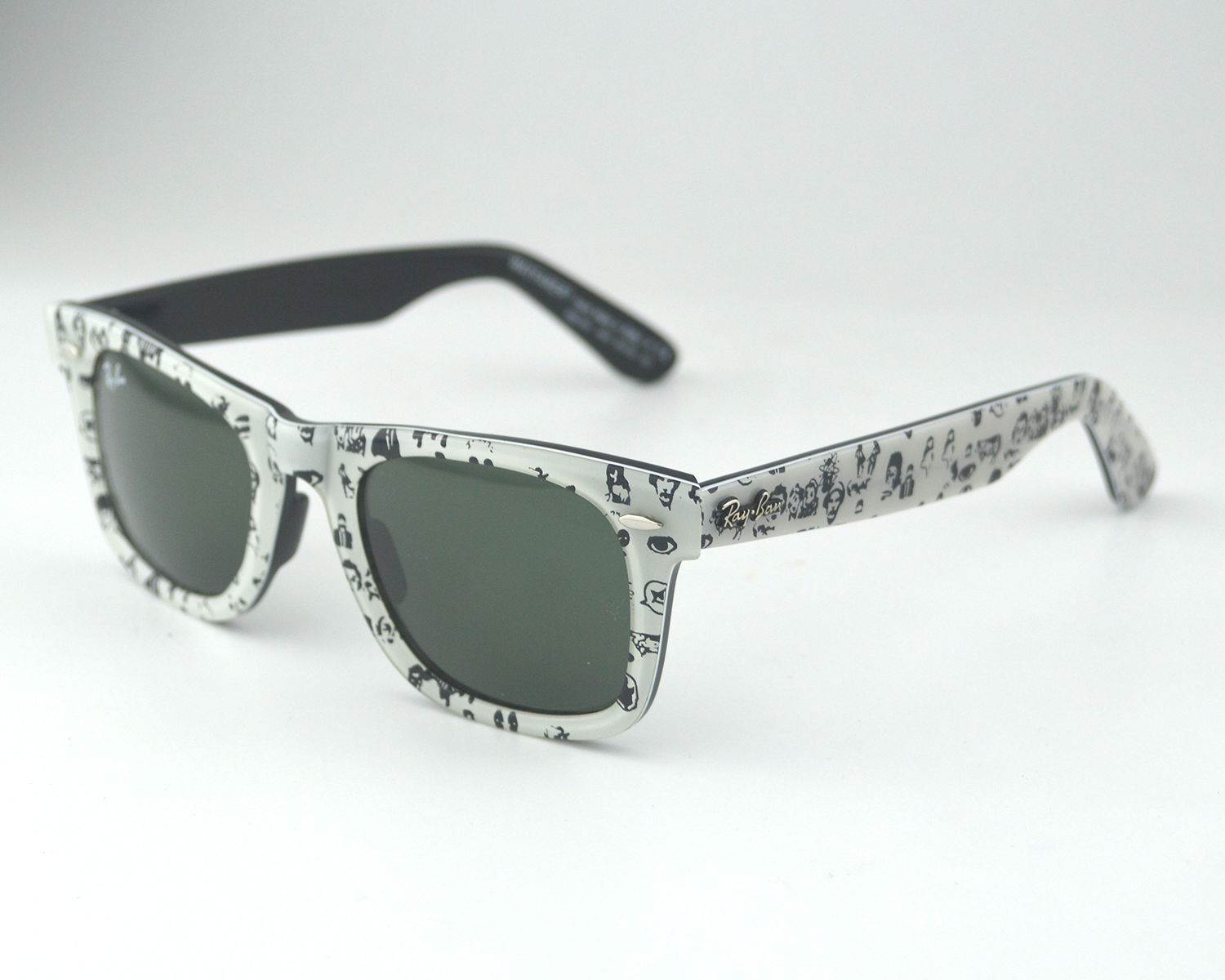 87ac835cfb6 Ray-Ban RB2140 Wayfarer 1047 White Black Acetate Frame Green Classic Lens  Unisex Sunglasses 50mm