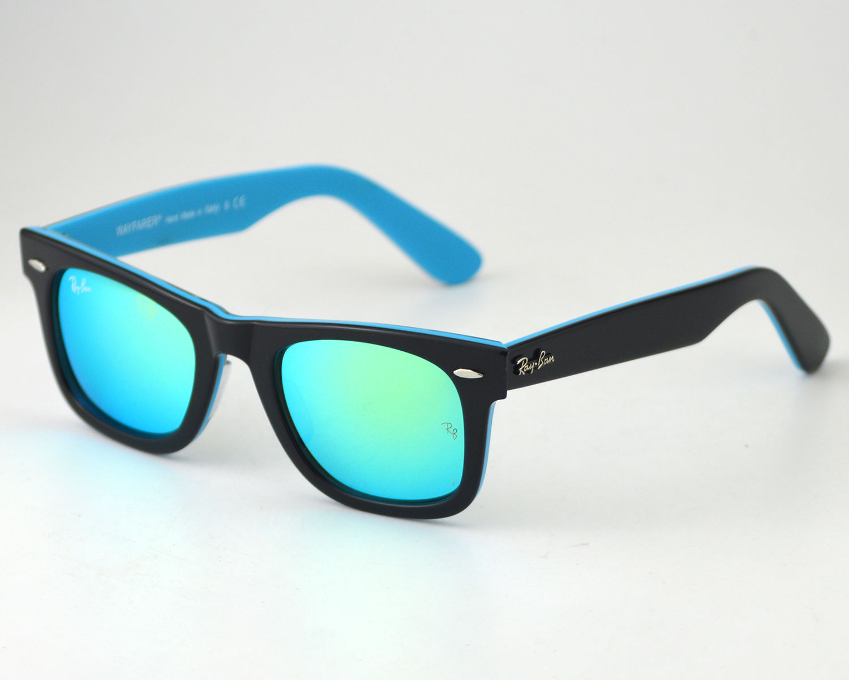 Ray Ban Rb2140 Wayfarer 1001 19 Black Blue Frame Blue