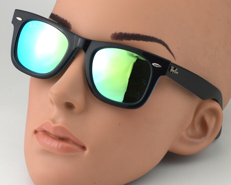Ray-Ban RB2140 Wayfarer 1001 19 Black, Blue Frame Blue Mirror Lens  Sunglasses 50mm 8d6caae40f