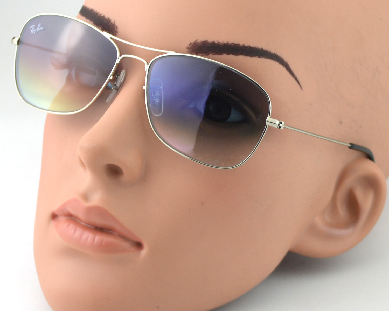 Ray Ban-RB3388 Cockpit 003 32 Silver Frame Light Blue Gradient Lens Male  Sunglasses 58mm e7827e5f5a88