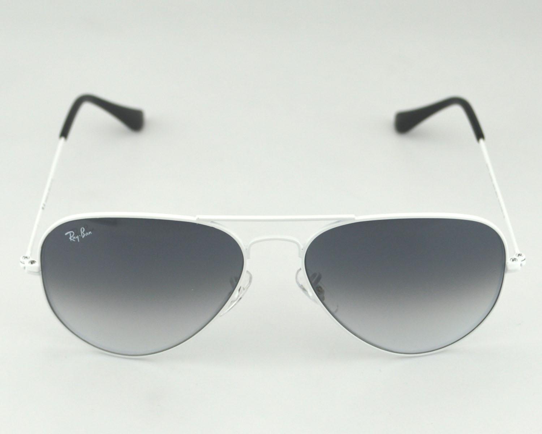 aaae56dc0c4 Ray-Ban RB 3025 Aviator Gradient 032 32 White Frame Light Grey Gradient  Glass Lens Unisex Sunglasses 58mm