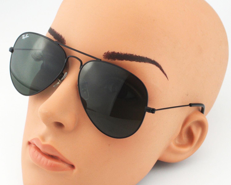 63fe5a9e64 Ray-Ban RB 3025 Aviator Classic Large Metal L2823 Black Frame Green Classic  G-15 Lens Unisex Sunglasses 58mm