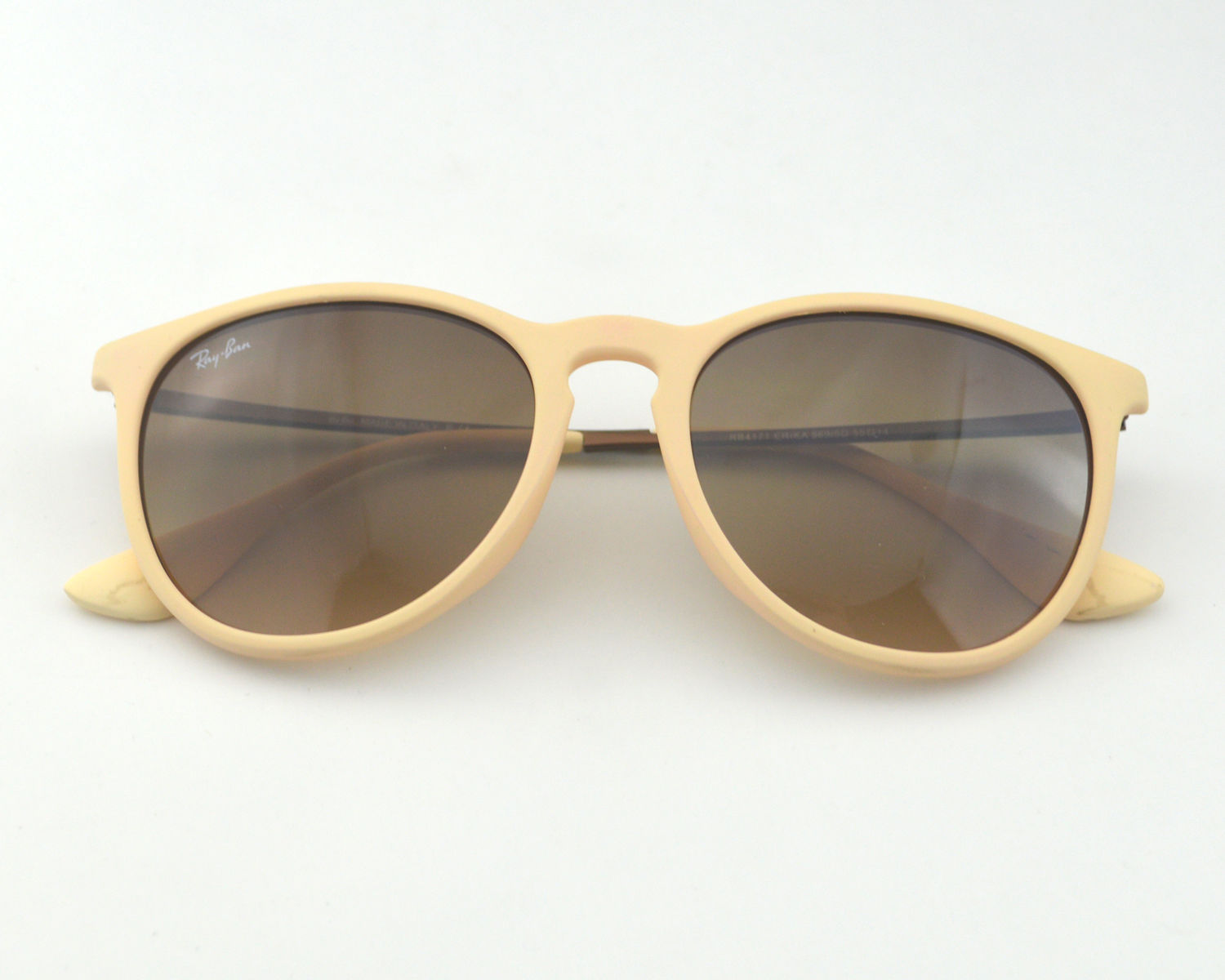 7cf9c5fb8e Ray-Ban RB 4171 Erika 869 5D Creamy white Frame Brown Gradient Glass Lens  Sunglasses 55mm