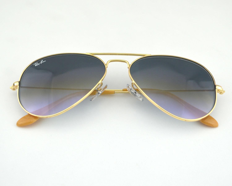 e1110baa7c Ray Ban RB3025 Aviator 001 3F Gold Frame Blue Gradient Glass Lens Unisex  Sunglasses 55mm