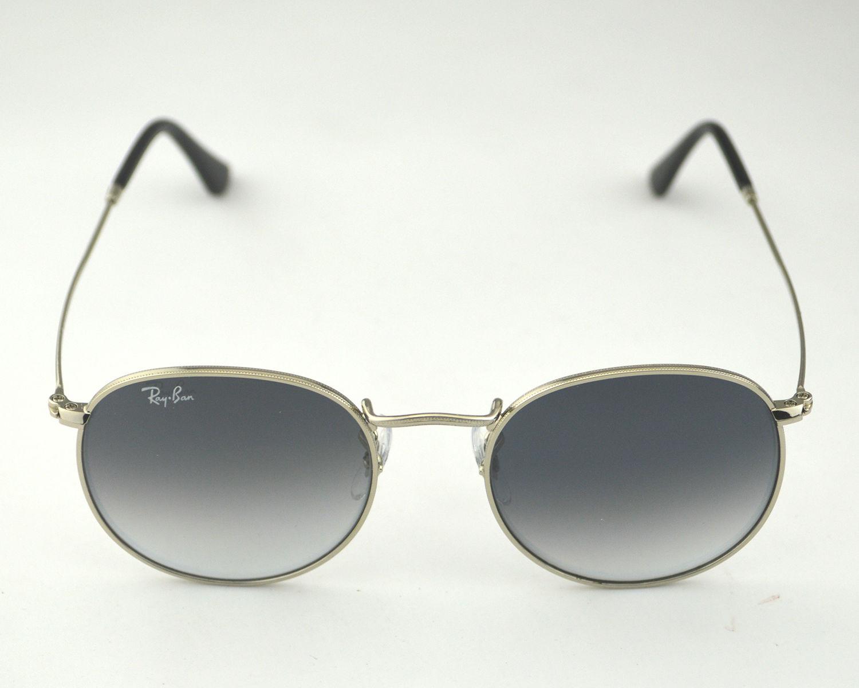 bdd976479b511 RayBan RB3447 Round Metal 003 32 Sliver Frame Gray Gradient Lenses Unisex  Sunglasses 50mm