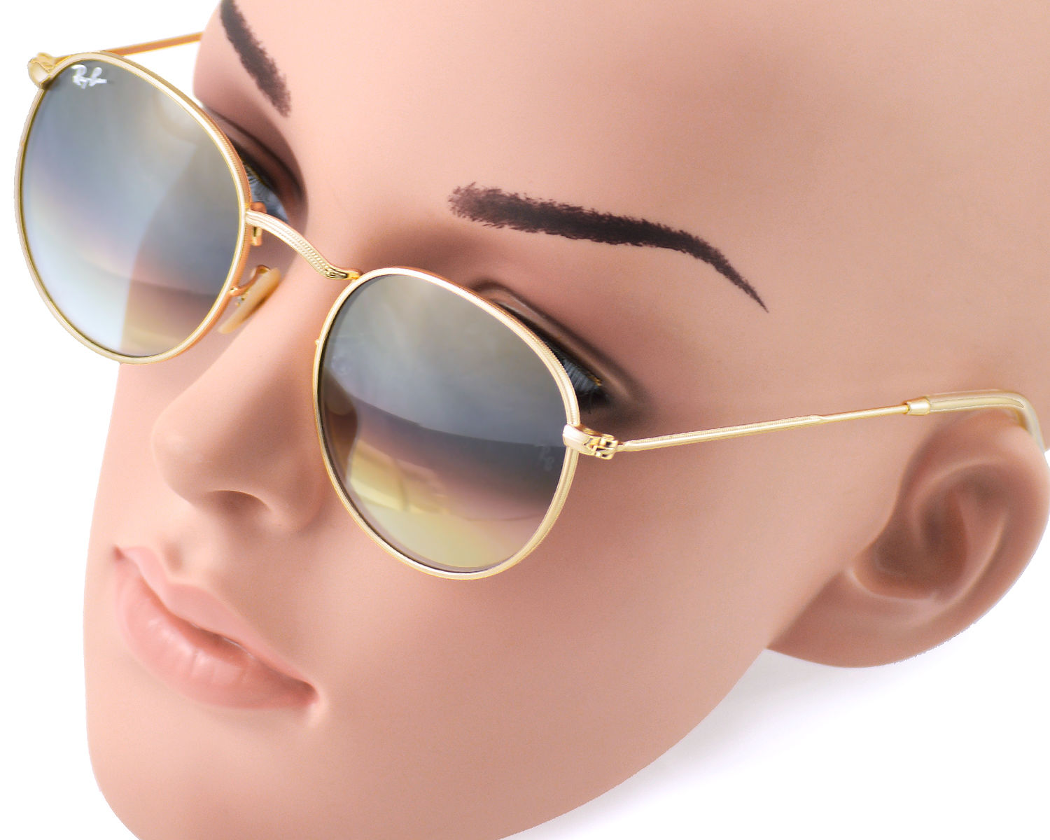 66f1d28793d5b Ray-Ban RB3447 Round Metal 112 32 Gold Frame Grey Gradient Lenses Unisex  Sunglasses 50mm