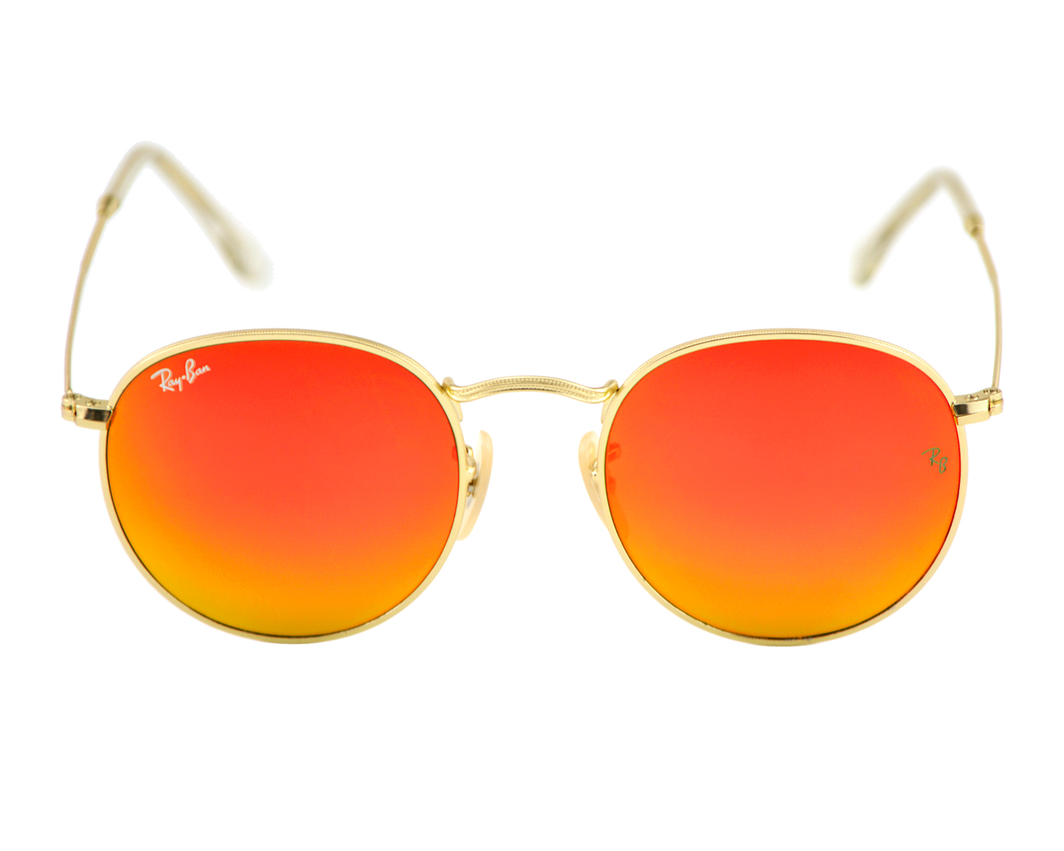 78277a4a8ae Ray Ban RB3447 Round Metal 112 69 Gold Frame Orange Flash Lenses Unisex  Sunglasses 50mm