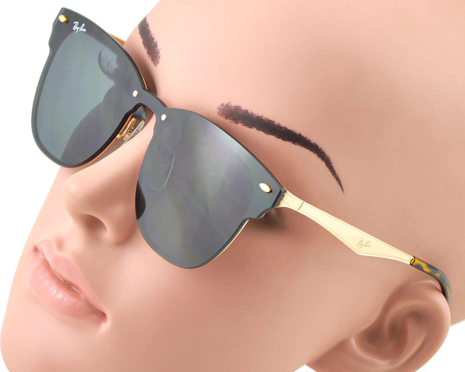RayBan RB3576N Blaze Clubmaster 043 9A Gold Frame Green Classic Lenses Unisex  Sunglasses 47mm 74a49cc42d