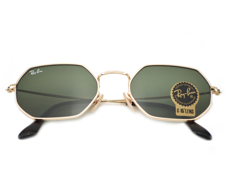 15c84e7d88 Ray-Ban RB3556N Octagonal Flat Lenses 001 Gold Frame Green Classic G-15  Lenses Unisex Sunglasses 53mm
