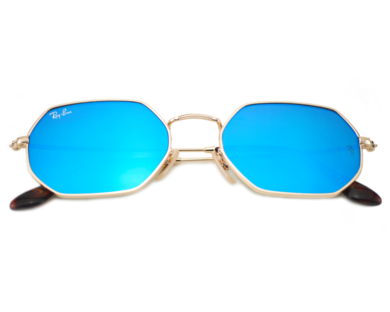 e2c27fcc887 Ray-Ban RB3556N Octagonal Flat Lenses 001 90 Gold Frame Light Blue Gradient  Flash Lenses Unisex Sunglasses 53mm