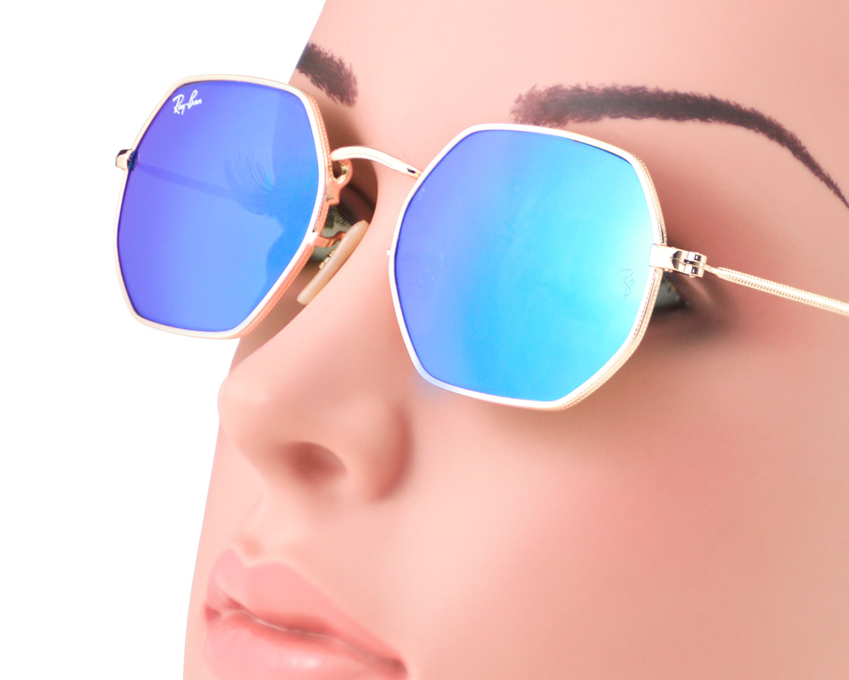 2bd8ea566c Ray-Ban RB3556N Octagonal Flat Lenses 001 90 Gold Frame Light Blue Gradient  Flash Lenses Unisex Sunglasses 53mm