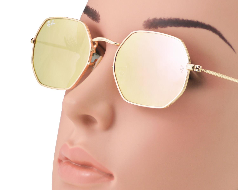 4bae8f732d Ray-Ban RB3556N Octagonal Flat Lenses 001 Z2 Gold Frame Copper Flash Lenses  Unisex Sunglasses 53mm