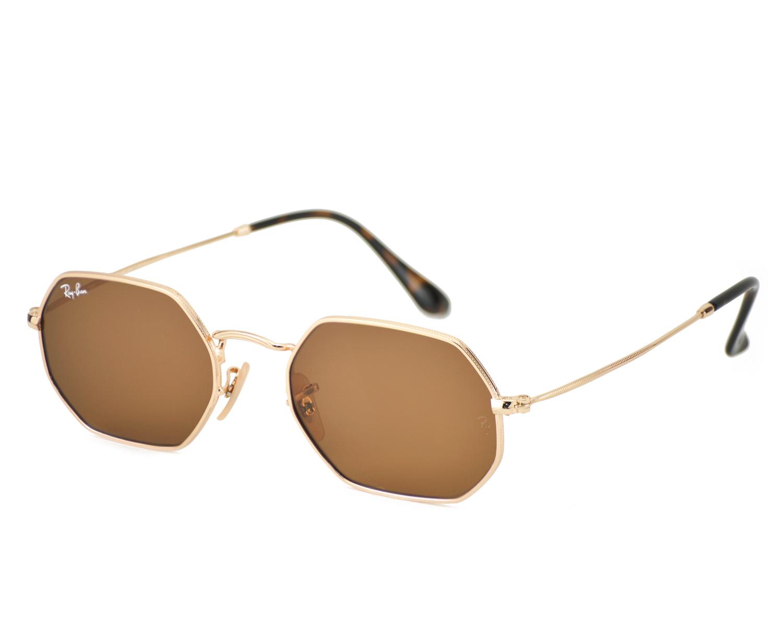 70180bf14f96e Ray-Ban RB3556N Octagonal Flat Lenses 001 33 Gold Frame Brown Classic B-15  Lenses Unisex Sunglasses 53mm