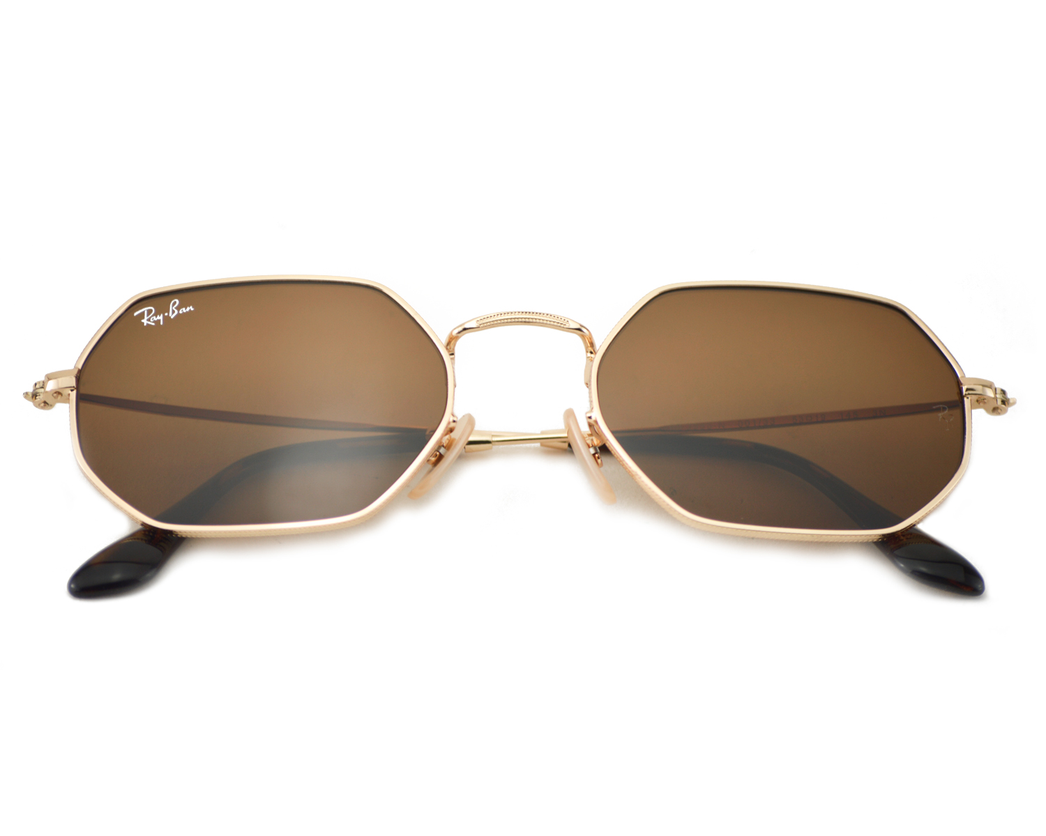 748a7492a5 Ray-Ban RB3556N Octagonal Flat Lenses 001 33 Gold Frame Brown Classic B-15  Lenses Unisex Sunglasses 53mm