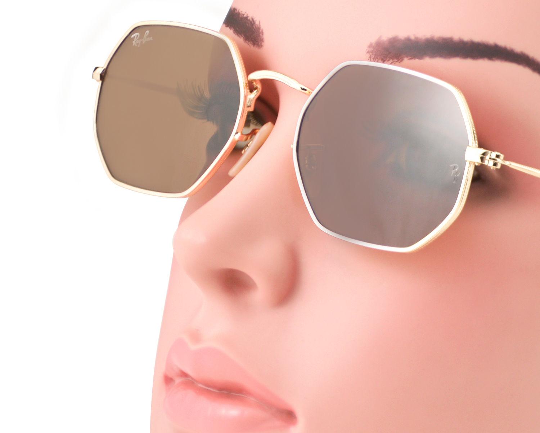 51d89ecb5f Ray-Ban RB3556N Octagonal Flat Lenses 001 33 Gold Frame Brown Classic B-15  Lenses Unisex Sunglasses 53mm