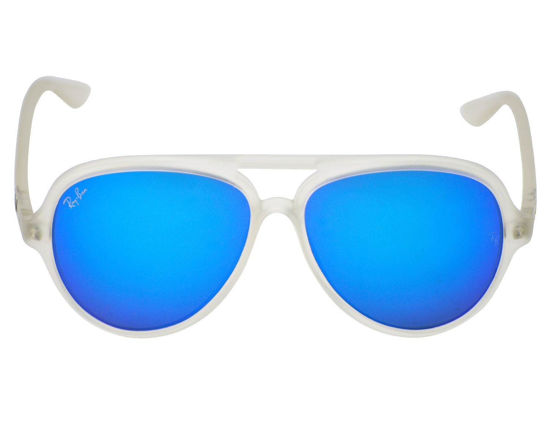 c529bf3bda9 Ray-Ban RB4125 Cats 5000 Flash Lenses 646 17 Transparent Frame Blue Flash  Lenses Unisex Sunglasses 59mm