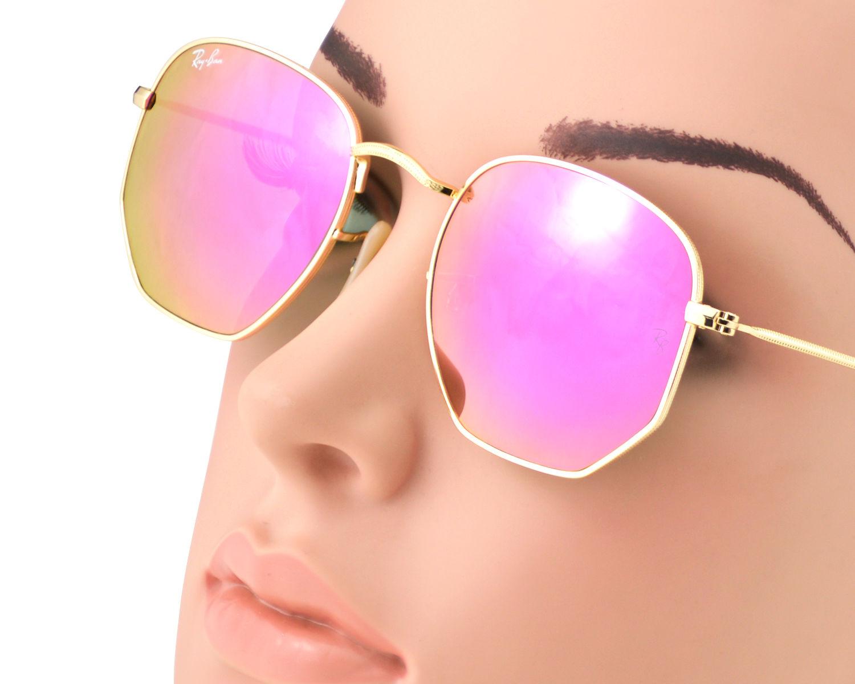 Ray-Ban RB3548N Hexagonal Flat Lenses 001 8O Gold Frame Lilac Mirror Lenses Unisex  Sunglasses 51mm 0f3ea36da1