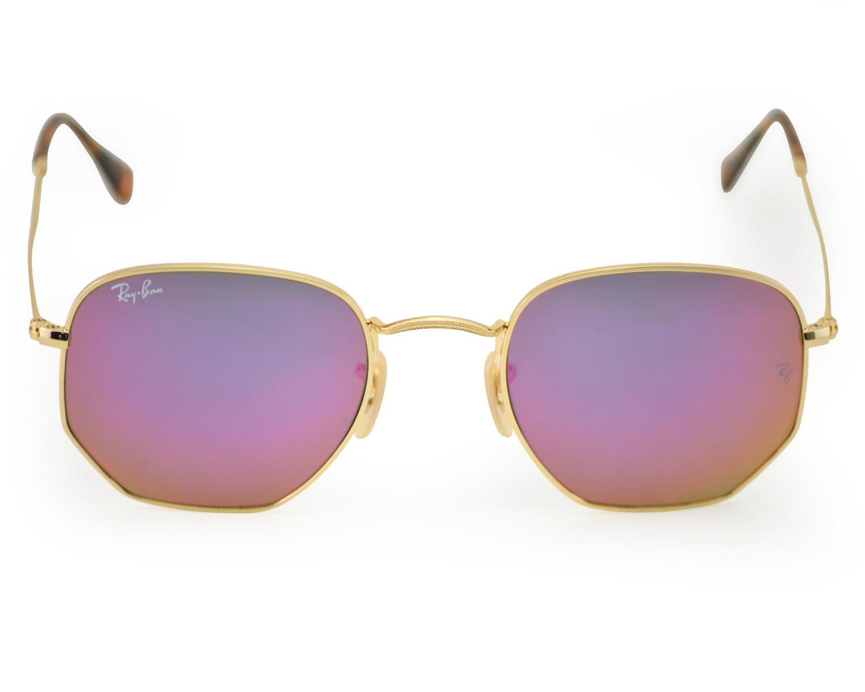 cfb88259c9e52 Ray-Ban RB3548N Hexagonal Flat Lenses 001 8O Gold Frame Lilac Mirror Lenses  Unisex Sunglasses 51mm