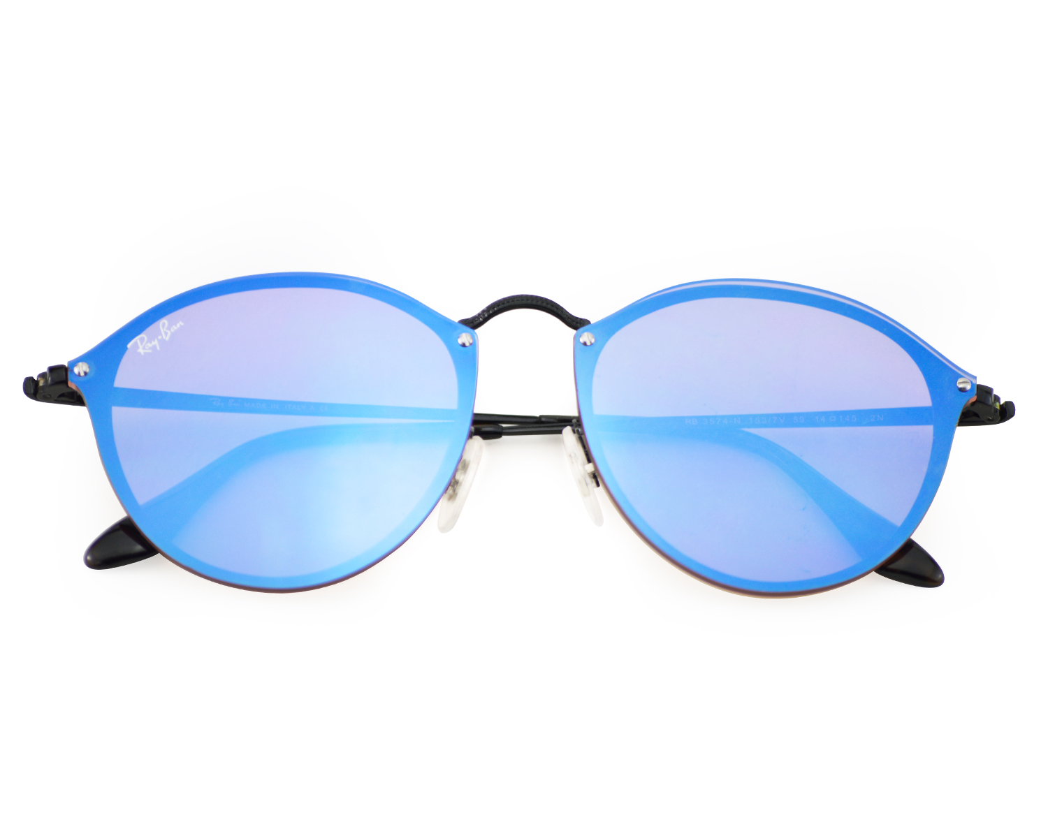 65f2511e199 Ray-Ban RB3574N Blaze Round 153 7V Black Frame  Violet Blue Mirror Lenses  Unisex Sunglasses 59mm