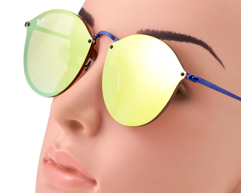 b5ec0a66d76ad Ray-Ban RB3574N Blaze Round 9038 7J Blue Frame Dark Orange Mirror Lenses  Unisex Sunglasses 59mm