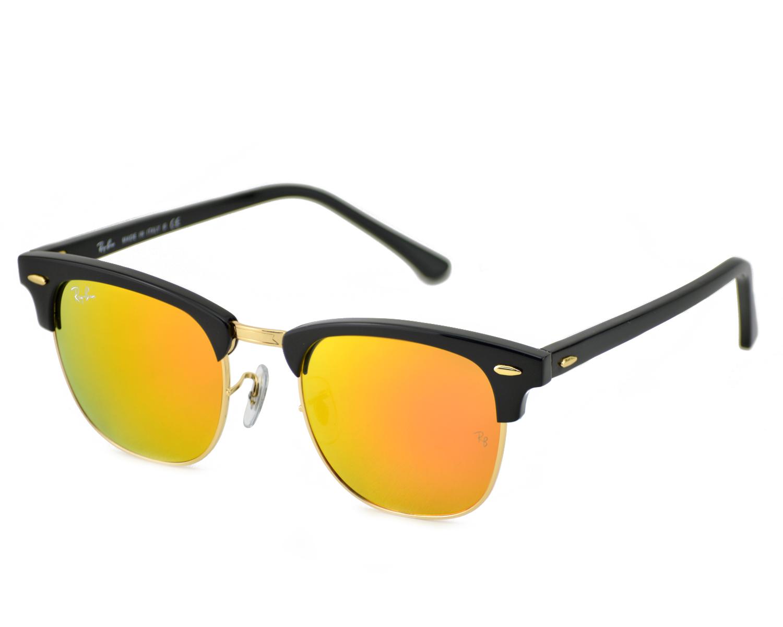 Ray-Ban RB3016 Clubmaster Flash Lenses 901/69 Black Frame/Orange ...
