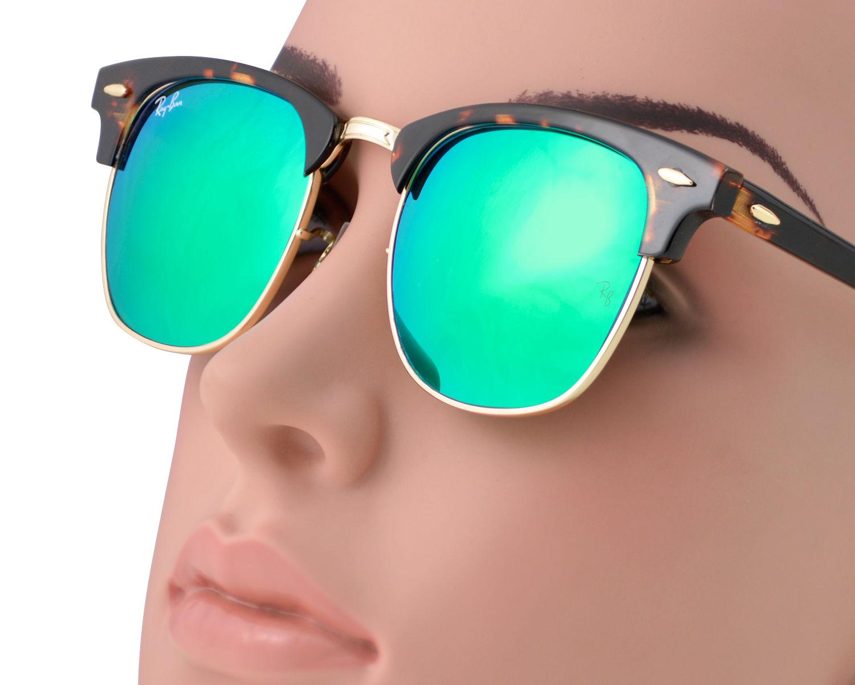 7e15770ae4 Ray-Ban RB3016 Clubmaster Flash Lenses 1145 19 Tortoise Frame Green Flash  Unisex Sunglasses 51mm