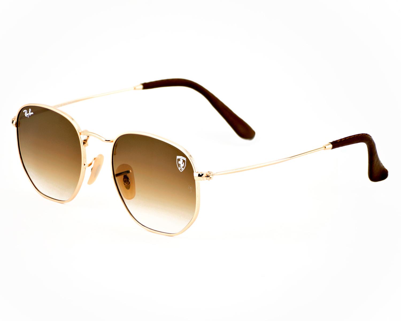 347cac2417b8 Ray-Ban RB3548NF RB3548NF Hexagonal Flat Lenses F008 28 Gold Frame Light  Brown Gradient Lenses Unisex Sunglasses 51mm