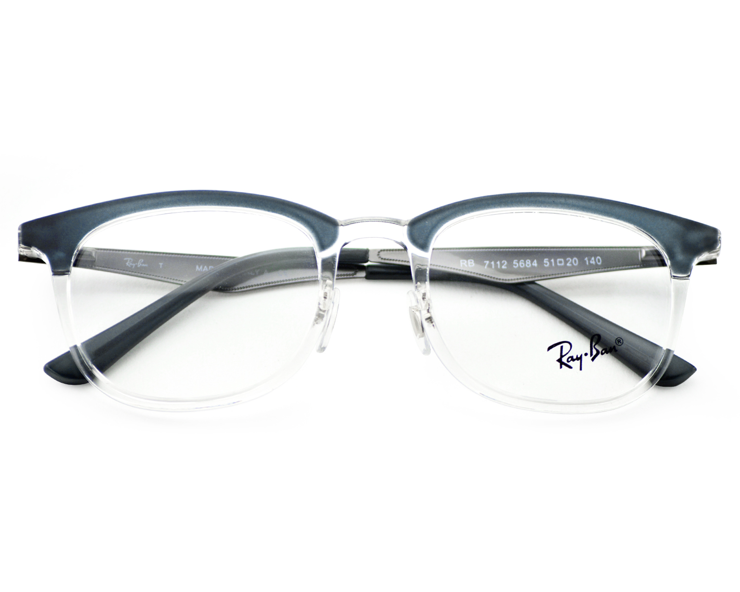 8421d06a91 Ray-Ban RB7112 5684 Blue Transparent Frame Clear Glass Lenses Unisex  Optical Glasses 51mm