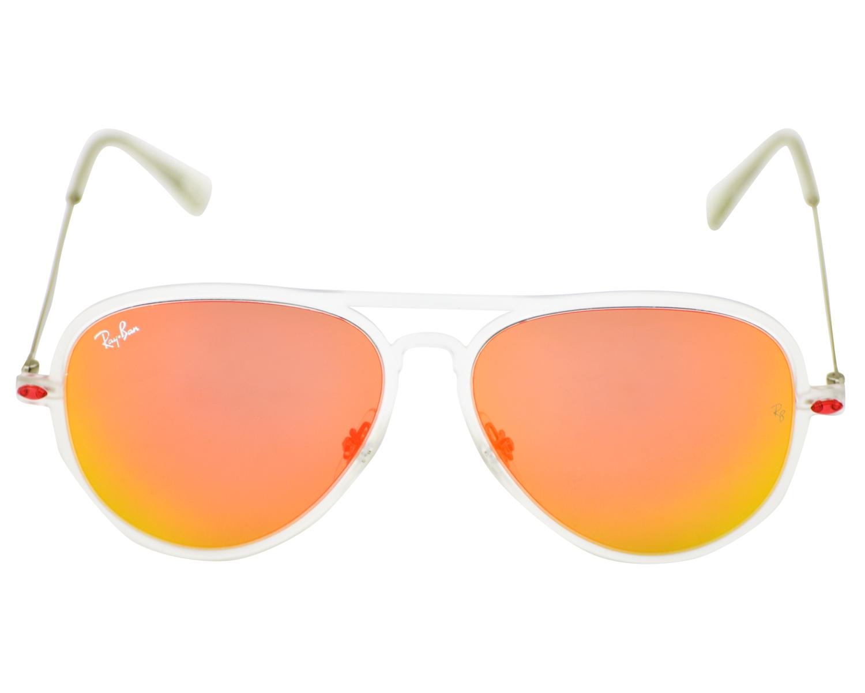 ad08ba39b1 Ray-Ban RB4211 Aviator Light Ray II 646 6Q Transparent Silver Frame Red  Mirror Unisex Sunglasses 56mm