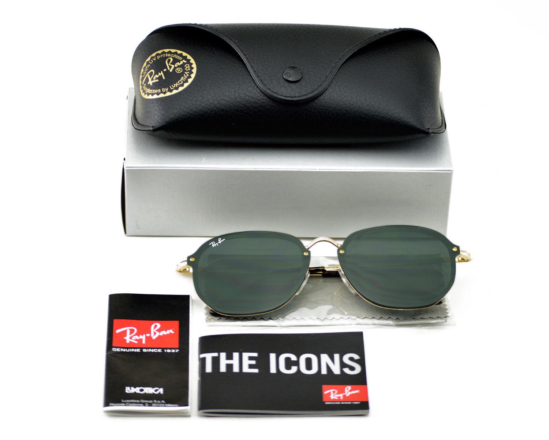 0cc1de67cfac8 Ray-Ban RB3579N Blaze Hexagonal 001 71 Gold Frame Green Classic Lenses  Unisex Sunglasses 58mm COPY